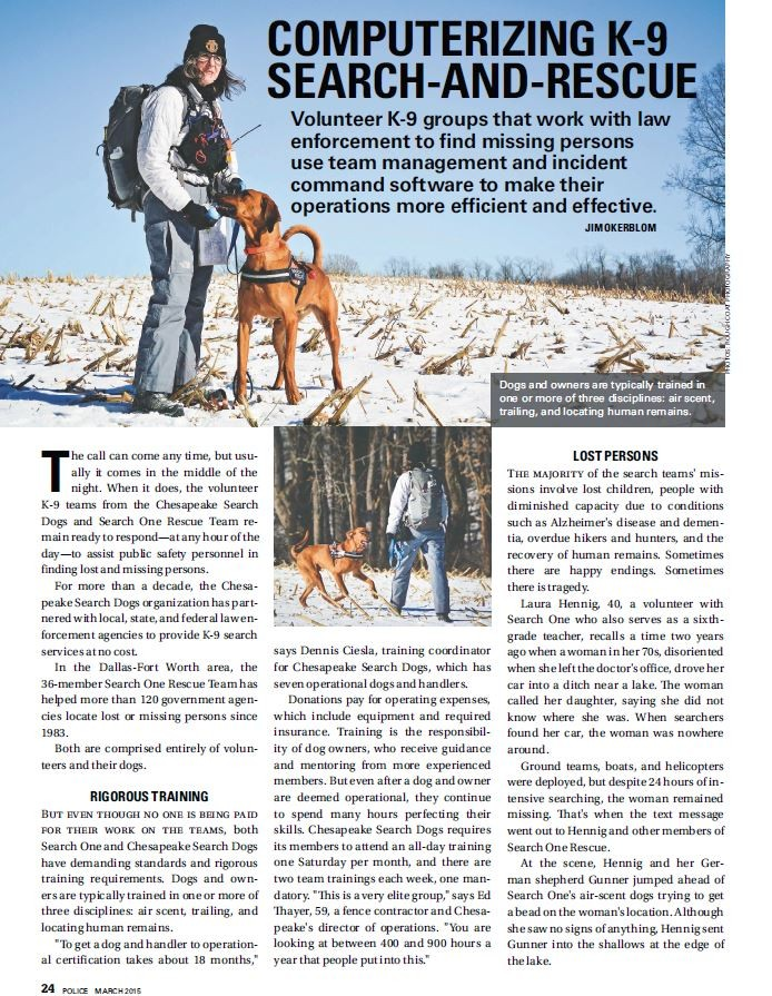 Search One Rescue Team, Chesapeake Search Dogs, Police Magazine, Mission Manager